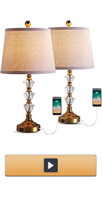 Crystal Table Lamps with Dual USB Charging Port