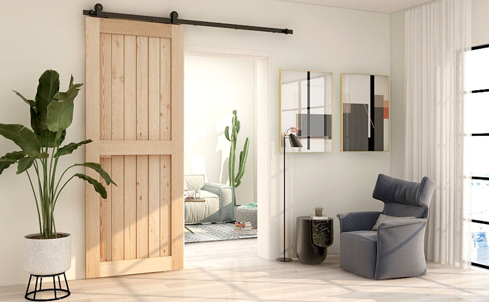 CCJH 4ft-16ft Sliding Barn Door Hardware Kit, Heavy Duty, Smoothly and Silently, Easy to Install