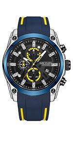 MEGIR Men's Sport Quartz Watches with Chronograph Luminous Auto Calendar Waterproof Function