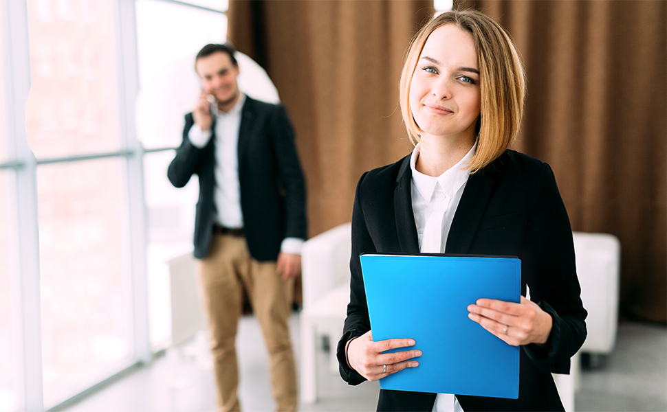 Business Woman with Blue Cranbury Presentation Binder