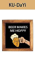 Beer Makes Me Framed Block Sign Rustic