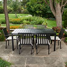 Black Metal Outdoor Dining Table Set