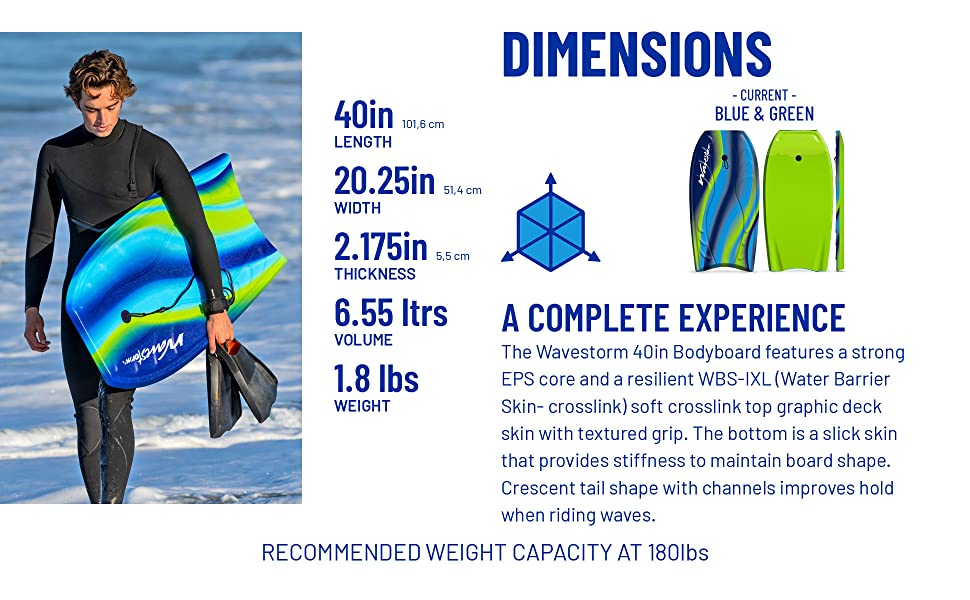 Wavestorm 40in CCBB Bodyboard 2-pack - Current (Green) - Dimensions