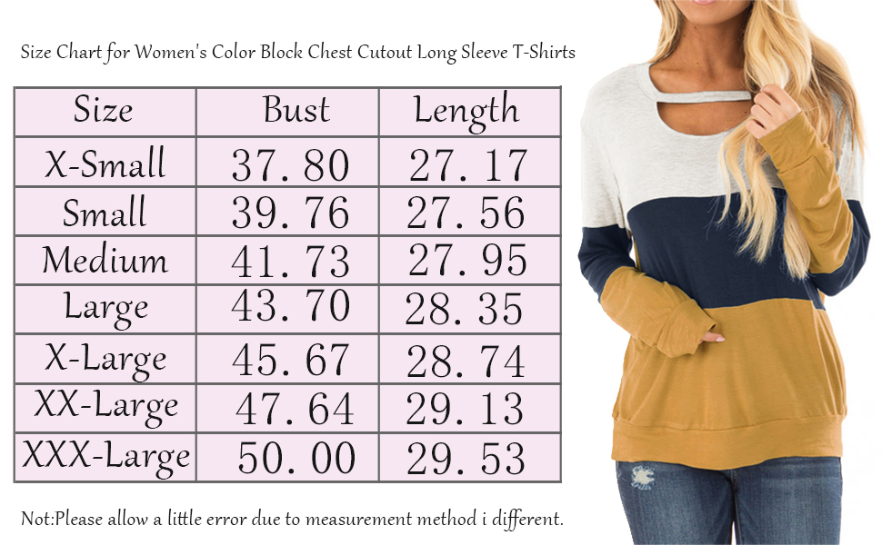Size Chart for Women's Color Block Chest Cutout Long Sleeve T-Shirts