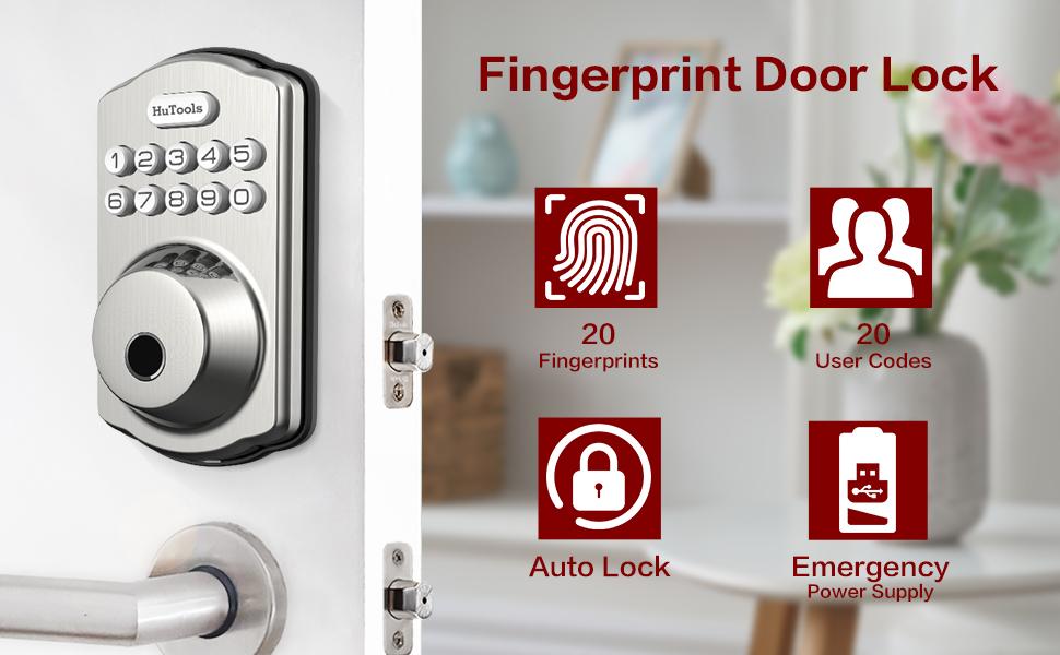 Hutools fingerprint keyless door lock with micro usb charging port
