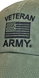 us army veteran olive drab hat with black text and american flag