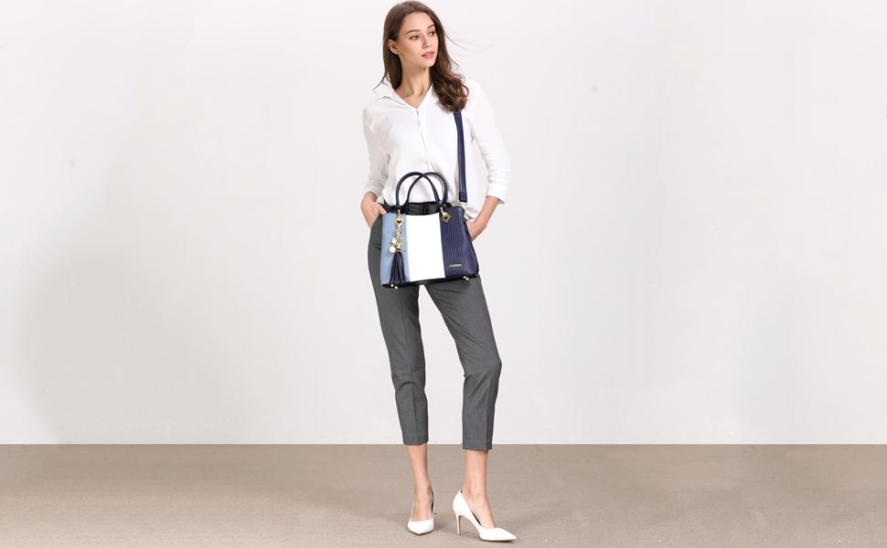 blue handbag model