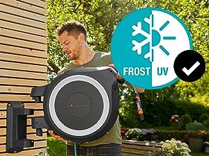 Wandslangenboxen, Gardena, oproltechnologie, tuin, RollControl, eco Pulse, uv, frost