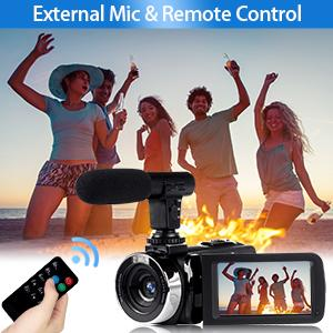 camcorder with microphone and remote control