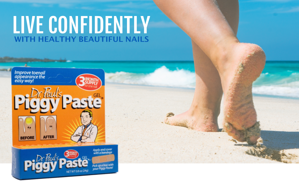 Dr. Paul's Piggy Paste box over picture of woman walking on the beach.
