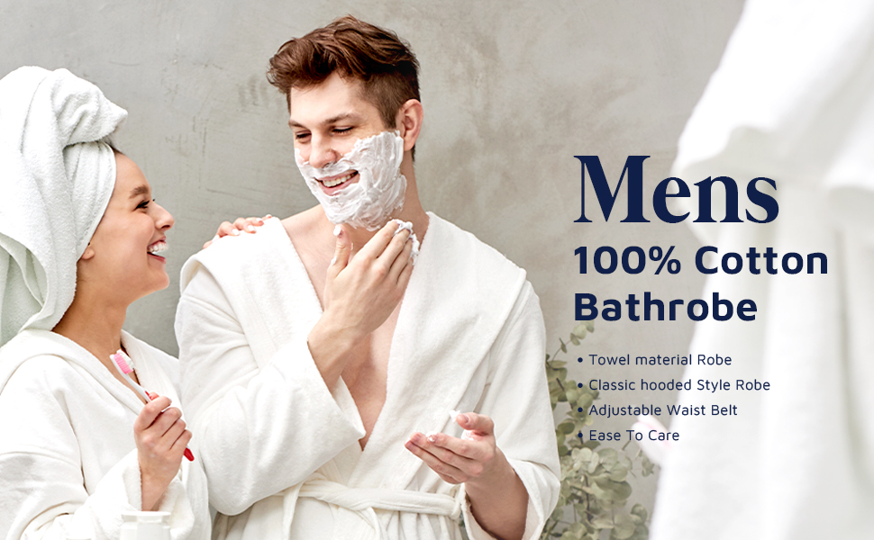 Mens 100% Cotton Bathrobe
