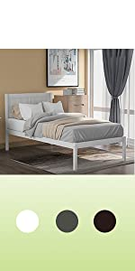 wood twin bed with headboard white twin size