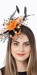 LED Fascinators for Women High Tea Party Headbands Cocktail Flower Mesh Feathers Headpiece
