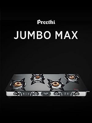 Preethi Blu-flame Stainless Steel Jumbo Max Glass Top Gas Stove with 4 Burner