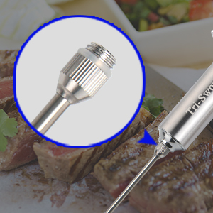 meat injector needle designed with vertical stripe