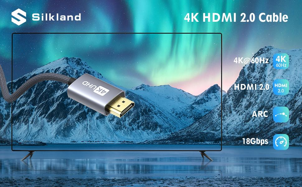 Silkland 4K HDMI 2.0 Cable support 4K@60Hz
