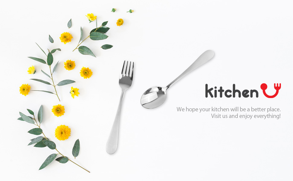 kitchen U logo and Stainless steel Spoonamp;Fork image