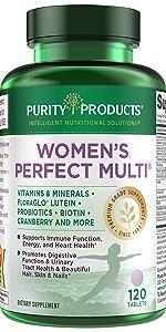 women's perfect multi multivitamin purity products probiotics cranberry lutein b12 biotin hair skin