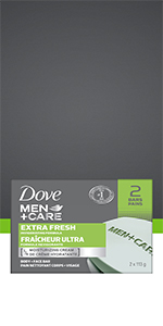 Dove Men+Care Extra Fresh Invigorating Formula removes oil and thoroughly cleans your skin.