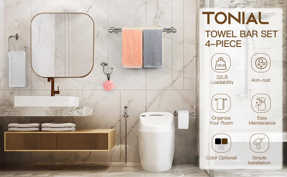 TONIAL Bathroom Hardware Set Accessories Towel Rack Set