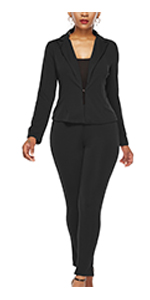 Women's Blazer Sets Casual Business  Solid Jacket with Long Pant Sets