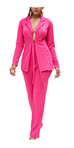 Womens Suits Sets Deep V Tops with Drawstring Wide Leg Long Pants Two Pieces Suiting