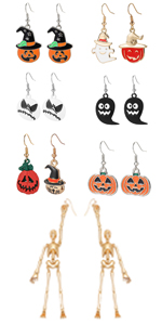 halloween earrings pumpkin earrings skeleton earrings halloween jewelry ghost earrings