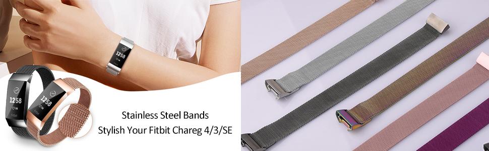Fitbit Charge 4 Band / Fitbit Charge 3 Bands / Charge 3 SE Band metal mesh loop band