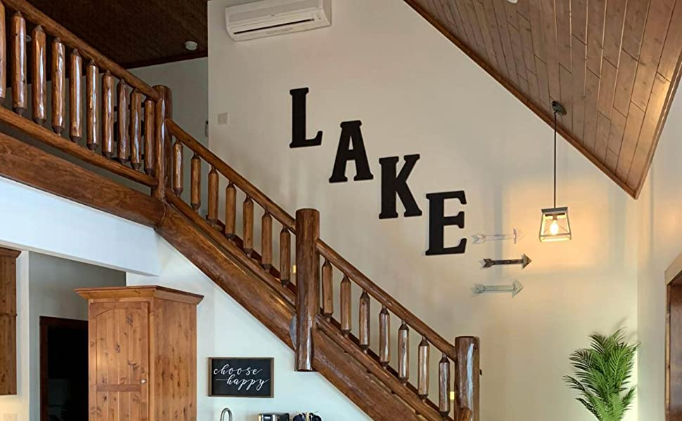 Unfinished Wood Co 23 Inch Vintage Letters used to spell LAKE as an open stairwell accent decor