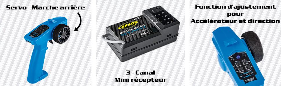 Servo-Marche arriére,3 canal mini récepteur