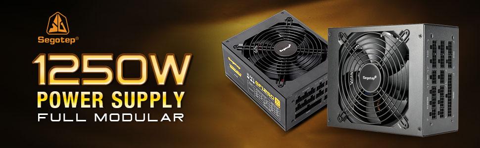 1250W Power Supply Fully Modular 80+ Gold PSU with 140mm Smart Fan