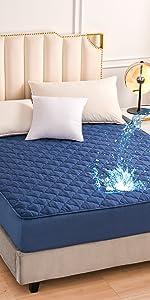 blue waterproof fitted sheet