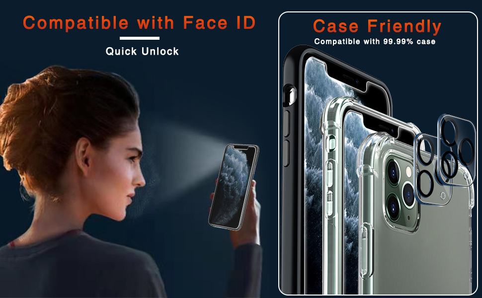 Ferilinso Screen Protector + Camera Lens Protector for iPhone 11 Pro