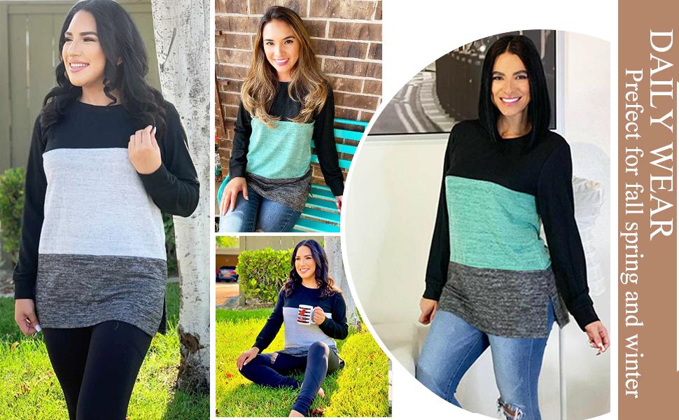 XIEERDUO Women Tunics or Tops to Wear with Leggings Long Sleeve Shirt Fall Tops