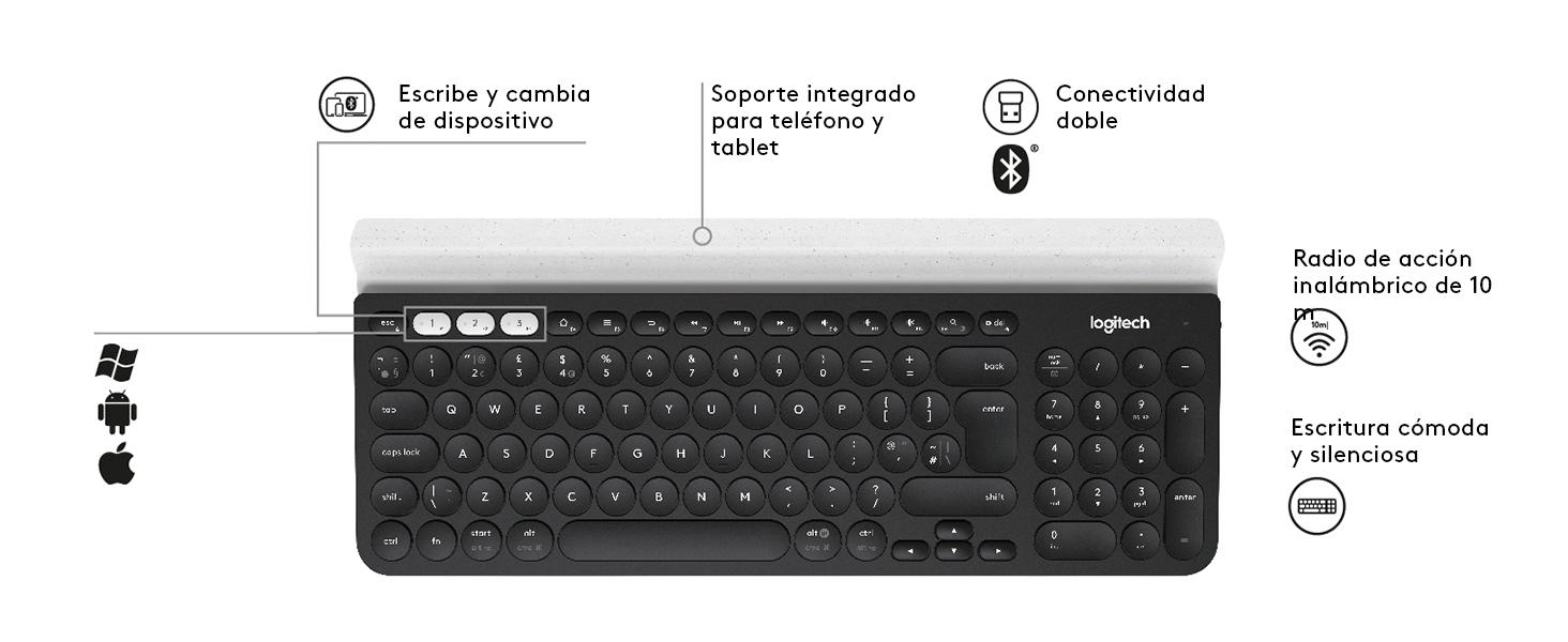 Logitech K780 Teclado Inalámbrico Multi-Dispositivos para Windows, Disposición QWERTZ Alemán, Gris