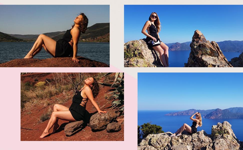 SheIn Women's Sleeveless Crisscross Backless Jumpsuit Shorts High Waist Cami Romper