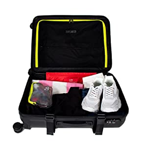 Cloe, multiple compartments, hard sided luggage, carryon luggage with laptop, tsa approved locks