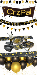 black gold party supplies