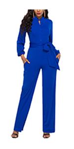 Women Long Tie Waist Button Wide Leg Jumpsuit Romper Outfits