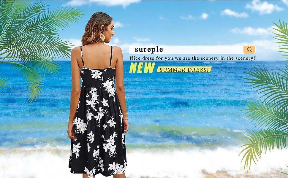 sureple summer beach dress for women knee length