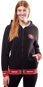 Ultra Game Women's Full Zip Sherpa Jersey Hoodie with Team Logo