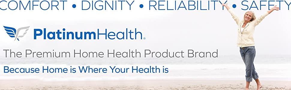 Platinum Health logo. The premium home health product brand. Because home is where your health is.