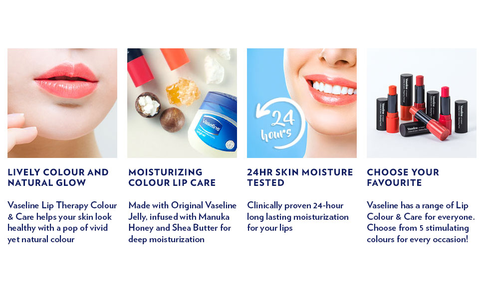 Lively Colour and Natural Glow, Moisturizing Colour Lip Care, 24 Hour Skin Moisture