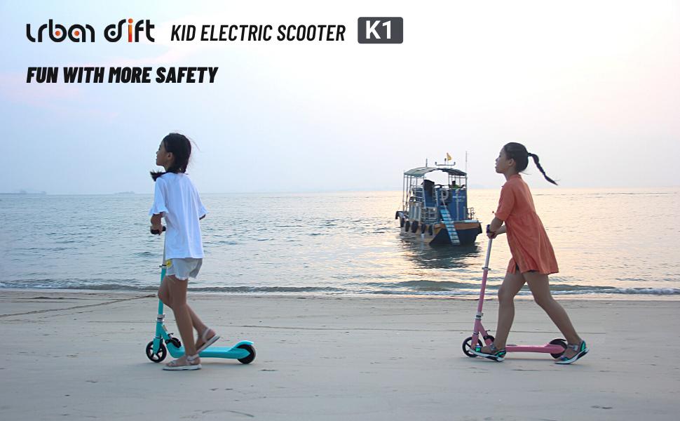 urban drift k1 battery electric scooter for kids motor scooter lightweight escooter girls pink blue