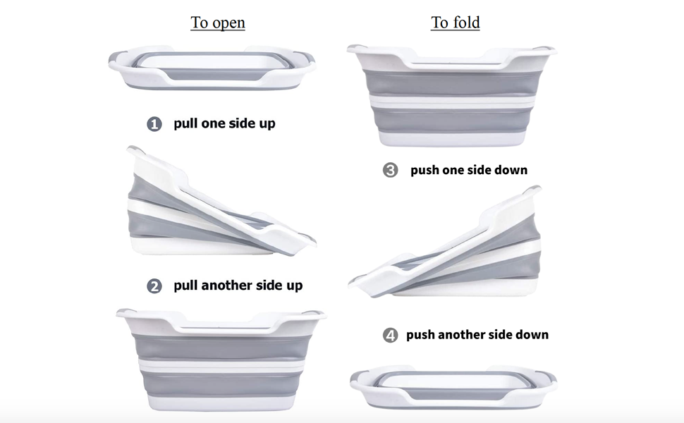 pull each side up to open, push each side down to fold