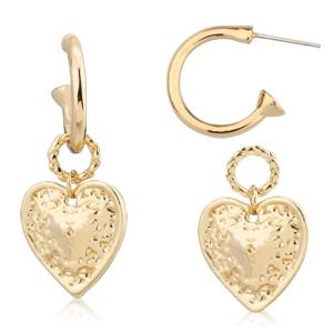 14k gold plated heart drop earrings