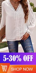 FARYSAYS Womens V Neck Long Sleeve Shirts Chiffon Blouse Vintage Elegant Tunic Tops
