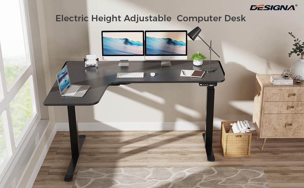 L-Shaped Electric Standing Desk 61inch Height Adjustable Corner Home Office Desk Modern Workstation