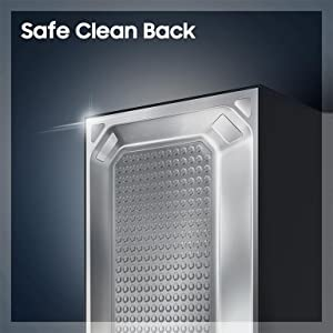 Its Safe Clean Back is a smooth safety cover for its internal vital components