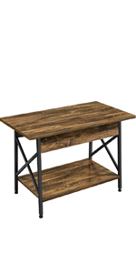 Industrial Coffee Table with Storage Shelf amp;amp;amp;amp;amp;amp;amp; X-shaped Side Metal Frame